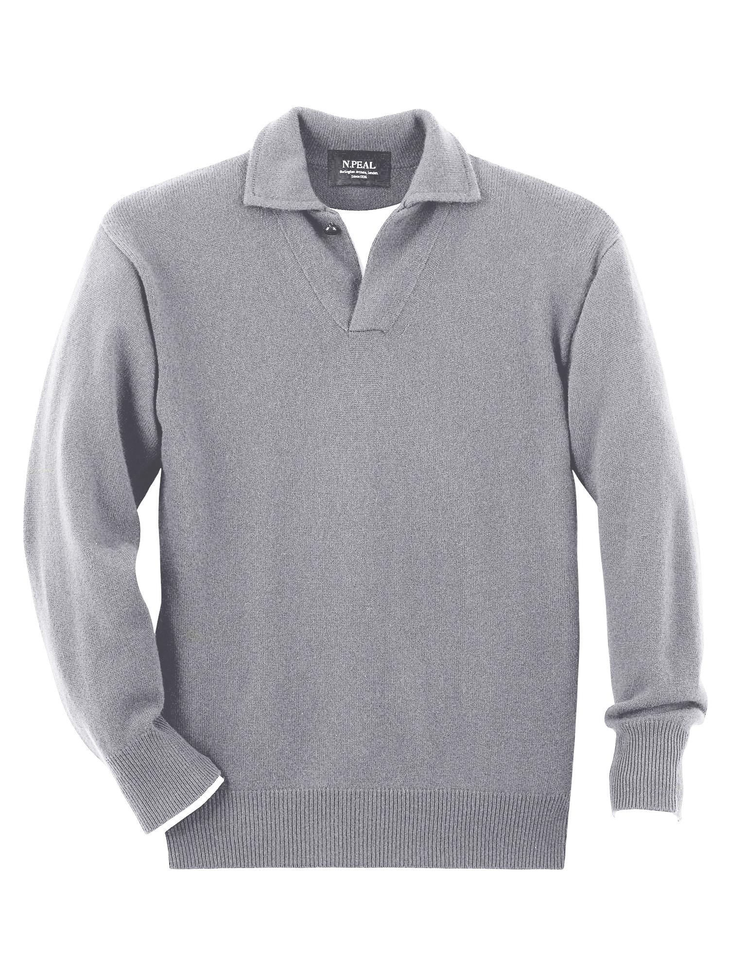 b3e0eca0888 Sportovní šedý svetr N.PEAL Sheridan. Klasický antracitový cardigan ...