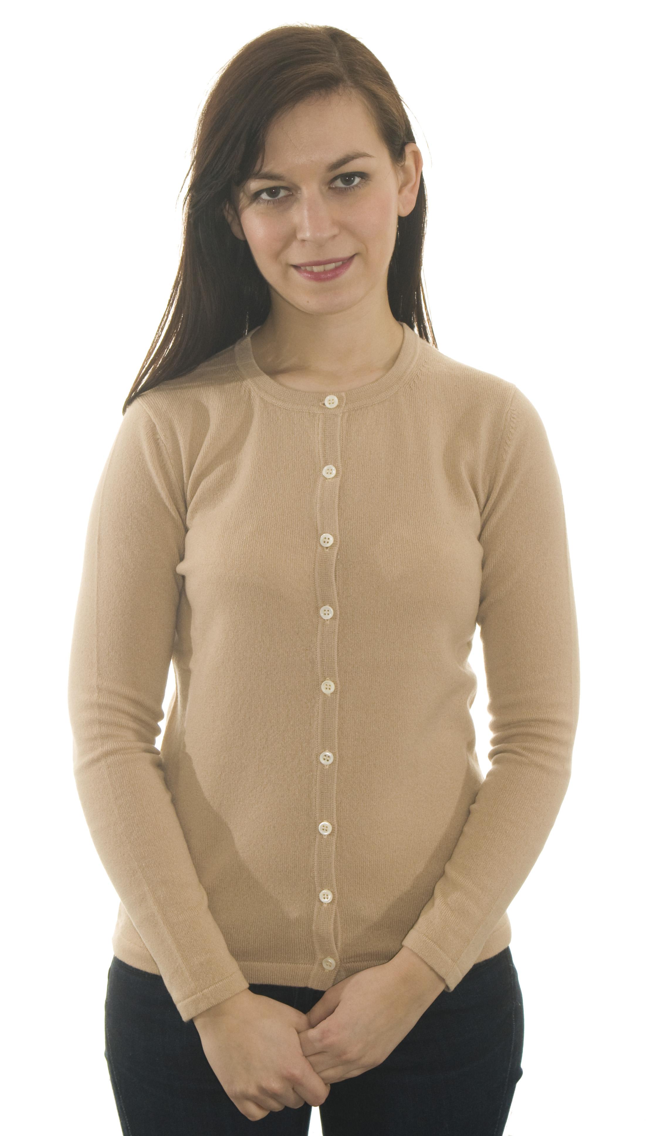 Dámský kašmírový svetr s okrouhlým výstřihem a ... 3019bd0f66