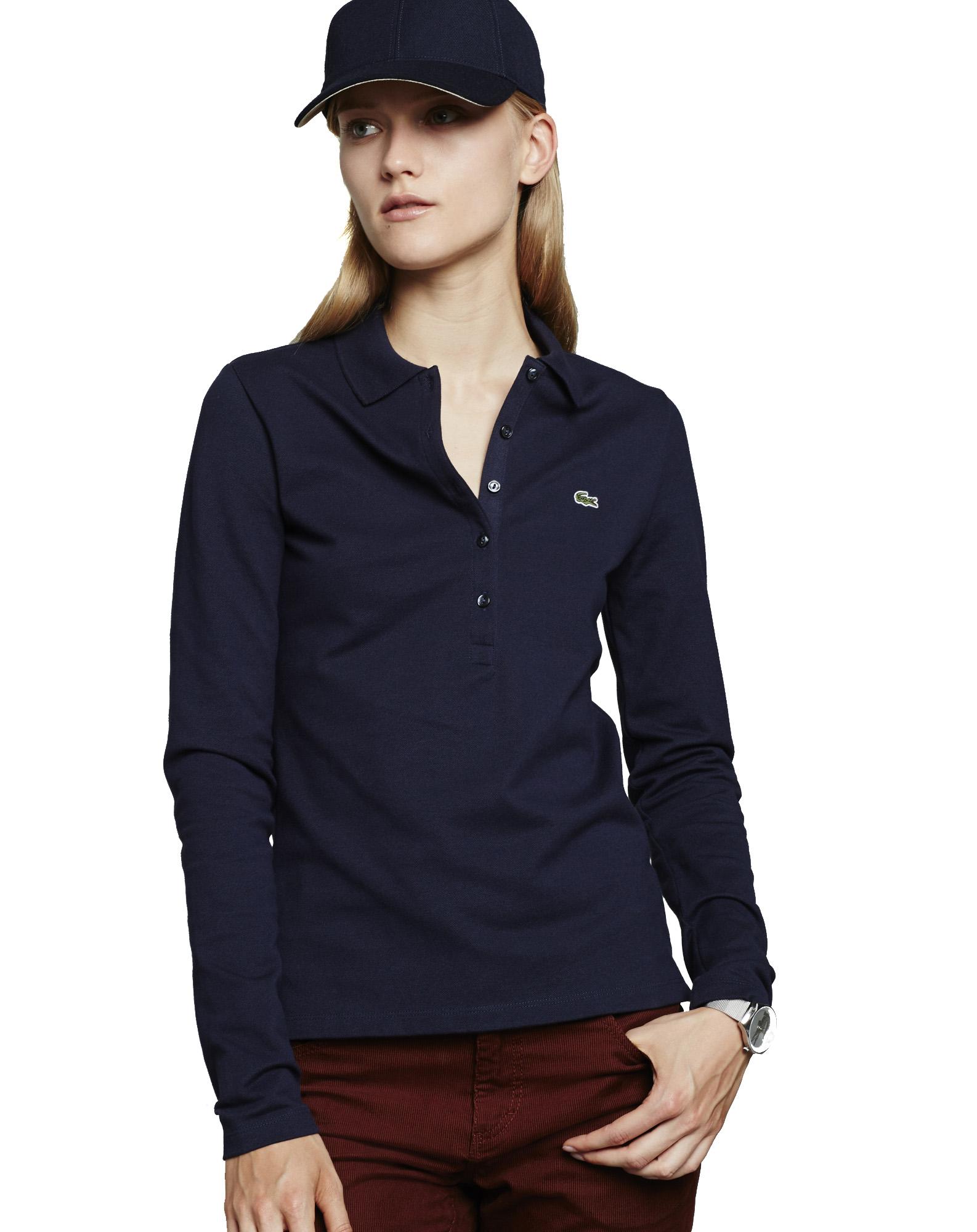 9e6b58050f0 Dámský Lacoste v temně modré barvě. Polo tričko s dlouhým rukávem ...