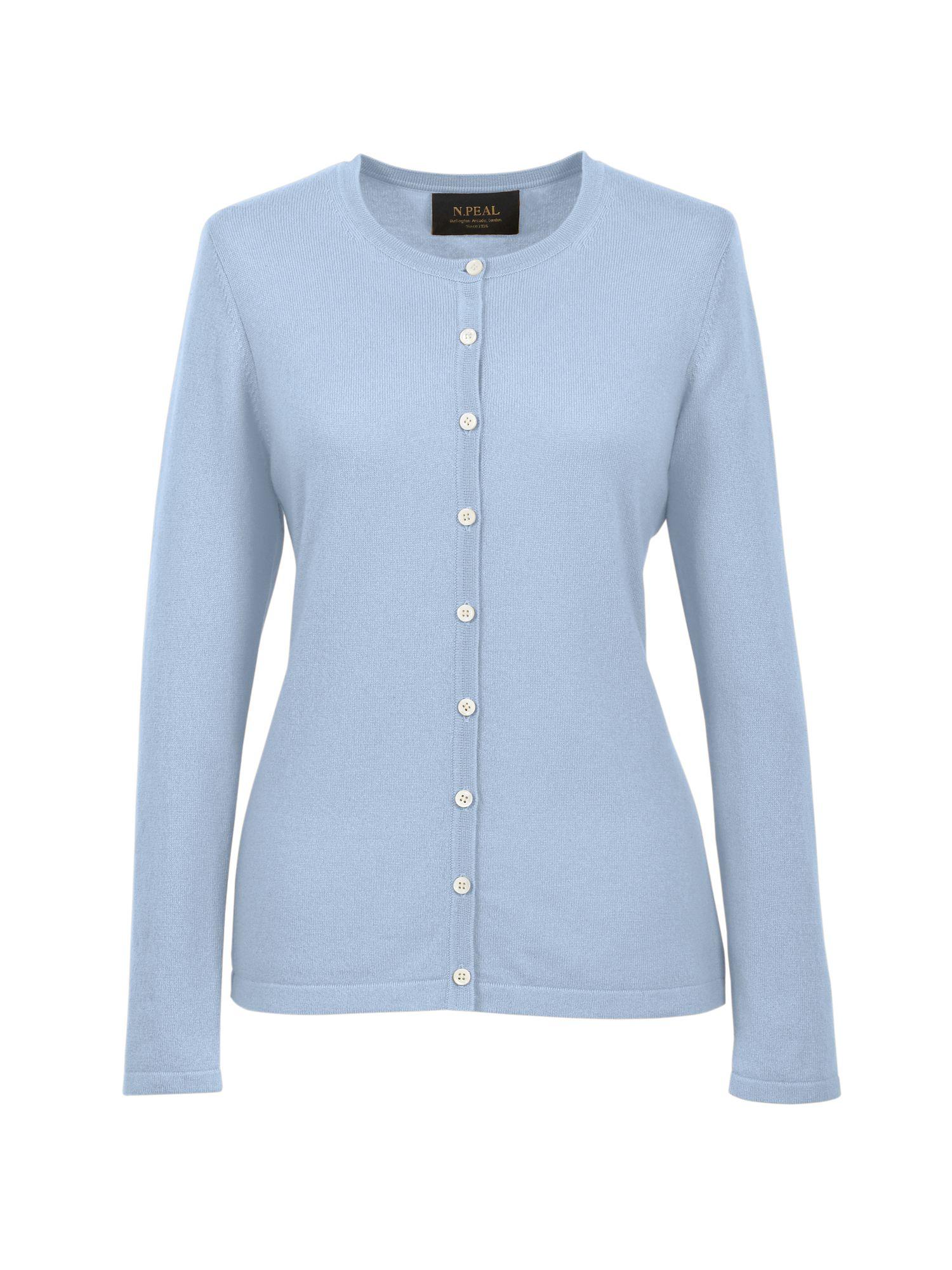 Světle modrý kašmírový svetr s propínáním a okrouhlým výstřihem bb529ded22