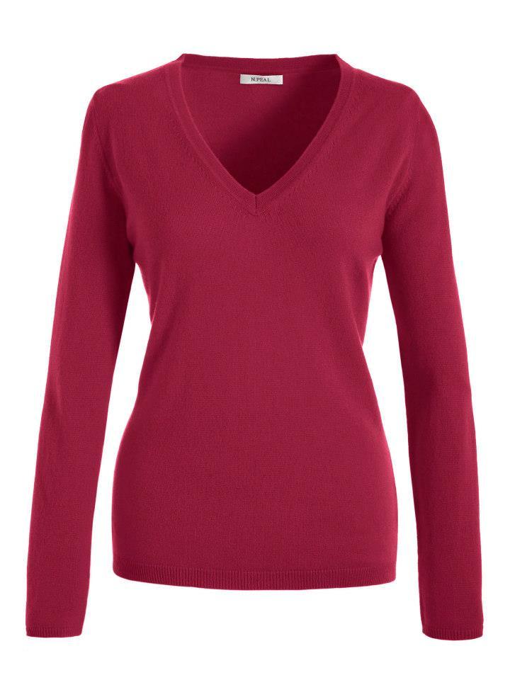 1da50759427 Červený kašmírový svetr s výstřihem do V